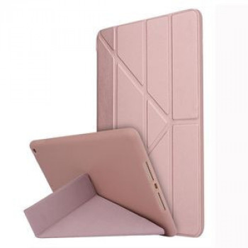 Чехол- книжка Solid Color Trid-fold Deformation Stand на iPad 10.2 -розовое золото