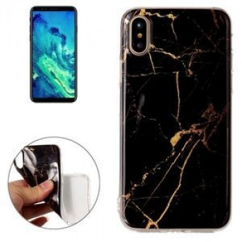 Чехол на iPhone X Black Marble Pattern черный мрамор
