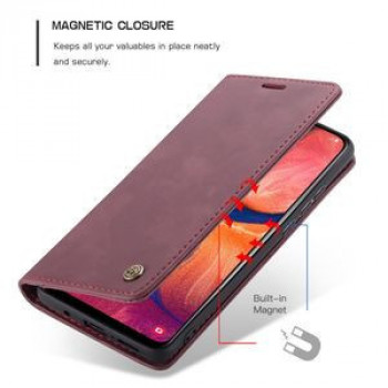 Кожаный чехол-книжка CaseMe-013 Multifunctional Retro Frosted Horizontal Flip на Samsung Galaxy A20 / A30-винно-красный