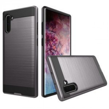 Противоударный чехол HMC Brushed Texture Rugged Armor на Samsung Galaxy Note 10- серый
