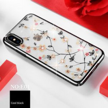 Чехол SULADA Flower Pattern Plating Diamond на iPhone XS / X -черный