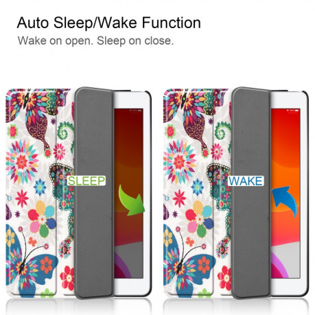 Чехол Custer Three-folding Sleep/Wake-up Colorful Butterfly на iPad 8/7 10.2 (2019/2020)