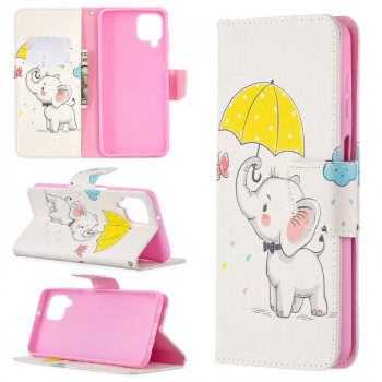 Чехол-книжка Colored Drawing для Samsung Galaxy A12/M12 - Umbrella Elephant