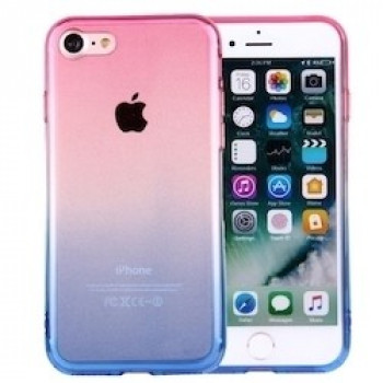 TPU Чехол Clear Crystal Gradient Color Acrylic Розово-Голубой для iPhone 7/8