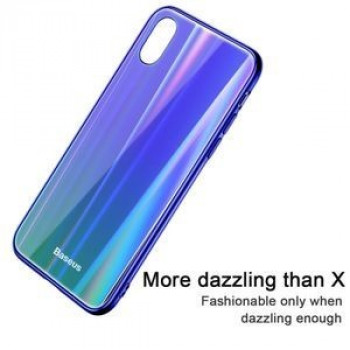 Чехол Baseus Laser luster Glass Case на iPhone X / XS -сине-зеленый