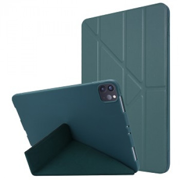Чехол- книжка Solid Color Trid-fold Deformation Stand на iPad Pro 11 (2020) - зеленый