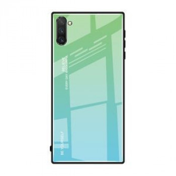 Стеклянный чехол Gradient Color Glass Case на Samsung Galaxy Note10+Plus- зеленый