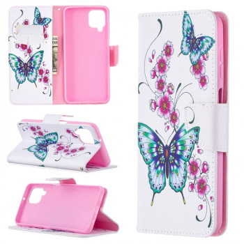 Чехол-книжка Colored Drawing для Samsung Galaxy A12/M12 - Two Butterflies