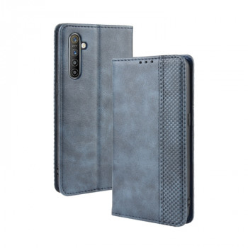 Кожаный чехол- книжка Magnetic Buckle Retro Crazy Horse Texture на Realme XT/K5/X2 - синий