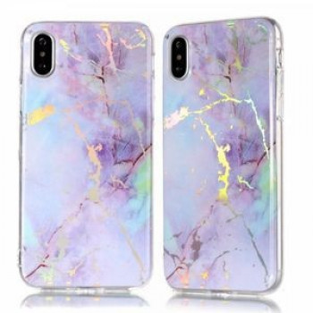 Чехол Color Plated Marble на iPhone XR-голубой