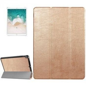 Кожаный Чехол Litchi Texture 3-folding Smart Case Gold для iPad Pro 10.5