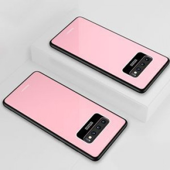 Акриловый чехол Lycra Series Eye Protection на Samsung Galaxy S10+ Plus-розовый