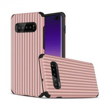 Противоударный чехол Suitcase Shaped UV Varnish Process на Samsung Galaxy S10+ / S10 Plus- розовый