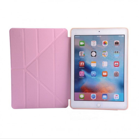 Чехол- книжка Solid Color Trid-fold + Deformation Viewing Stand на iPad 9.7 2017 / 2018 - розовое золотой