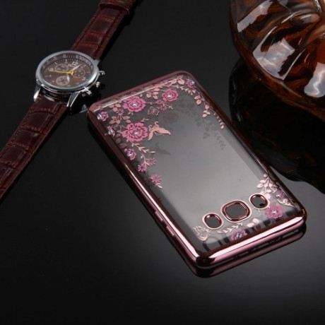 TPU Чехол Flowers Electroplating Rose Gold для Samsung Galaxy J5 (2016) / J510