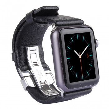 Кожаный Ремешок Kakapi Double-buckle Cowhide Black для Apple Watch 42 mm