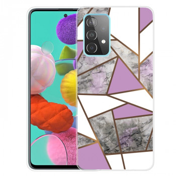 Противоударный чехол Marble Pattern для Samsung Galaxy A72 - Rhombus Gray Purple