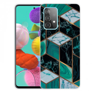 Противоударный чехол Marble Pattern для Samsung Galaxy A72 - Rhombus Dark Green