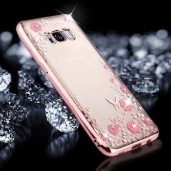 Чехол Flowers Pattern Diamond Encrusted Electroplating на Samsung Galaxy S8 + / G955 -розовое золото