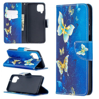 Чехол-книжка Colored Drawing для Samsung Galaxy A12/M12 - Blue Butterfly