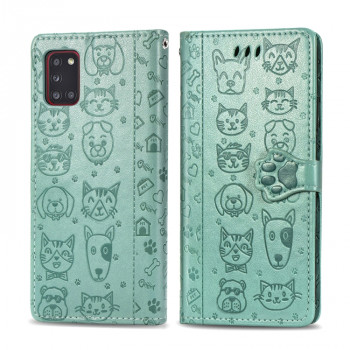 Чехол-книжка Cute Cat and Dog Embossed на Samsung Galaxy A31 - зеленый