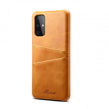 Кожаный чехол Fierre Shann Retro Oil Wax Texture на Samsung Galaxy S20-желтый