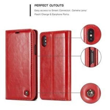 709aad15f8f6 Кожаный чехол книжка CaseMe 003 Series магнитная крышка на iPhone Xs Max 6  5 - красный