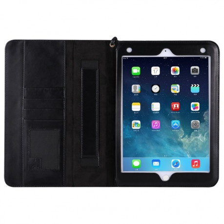 Кожаный чехол Retro Cowhide Texture Holder Card Slots Sleep/Wake-up Black для iPad 9.7 2017/2018 (A1822/ A1823)