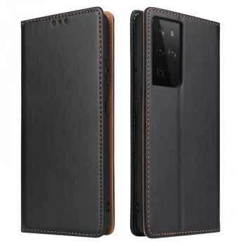Кожаный чехол-книжка Fierre Shann Genuine leather на Samsung Galaxy S21 Ultra - черный