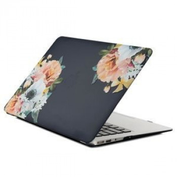 Чехол Soft Touch Black Flower Water Stick для MacBook Air 13 (2018)