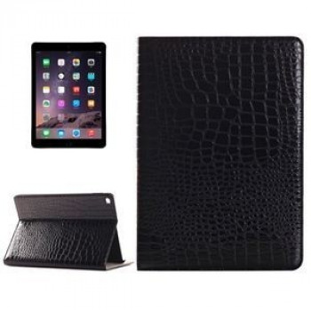 Кожаный Чехол Crocodile Texture Horizontal Flip Black для iPad Air 2