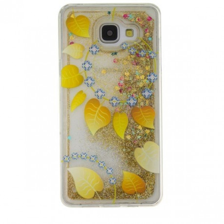 Блестящий TPU Чехол Bling Glitter Powder Liquid Gold Leaves для Samsung Galaxy A3 ( 2016 ) / A310