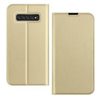 Чехол-книжка DZGOGO ISKIN Series Slight Frosted на Samsung Galaxy S10+/G975-золотой