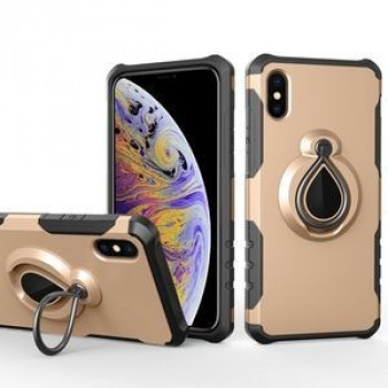 Противоударный чехол Magnetic Detachable Raindrop Shape Ring Holder на  iPhone XS Max золотой