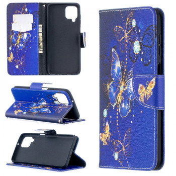 Чехол-книжка Colored Drawing для Samsung Galaxy A12/M12 - Purple Butterfly