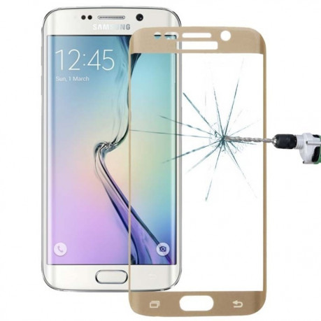 3D защитное стекло 0.3mm 9H Surface Hardness 3D  Explosion-proof Tempered Glass Film на Samsung Galaxy S6 Edge+ / G928(Gold)