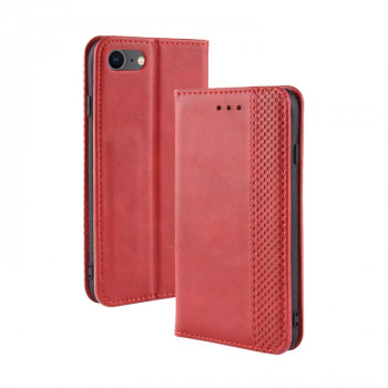 Чехол-книжка Magnetic Buckle Retro Crazy Horse Texture на iPhone SE 2 2020/7/8 - красный