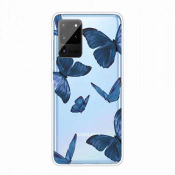Силилконовый чехол Painted TPU Protective Case Blue Butterfly на Samsung Galaxy Note 20