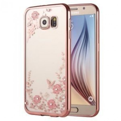 TPU Чехол Flowers Electroplating Rose Gold для Samsung Galaxy S6 Edge / G925