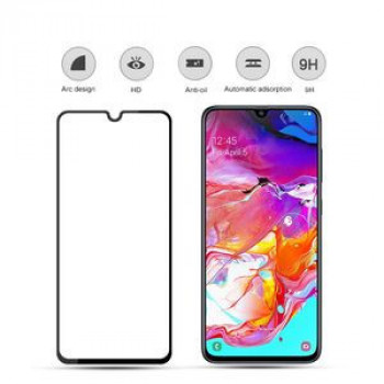 Защитное стекло mocolo 0.33mm 9H 3D Full Glue Silk Print на Samsung Galaxy A70, Support Fingerprint Unlock-черное