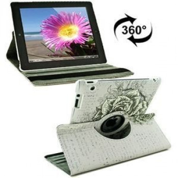 Чехол 360 Degree Rotation Rose Pattern на iPad 4 / New iPad (iPad 3) / iPad 2