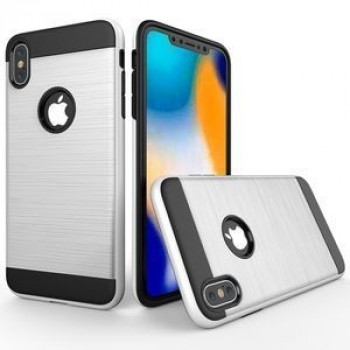 Противоударный чехол Brushed Texture Rugged Armor Protective Case на iPhone XR белый