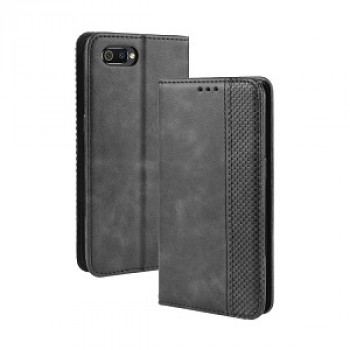 Чехол- книжка Magnetic Buckle Retro Crazy Horse Texture на Realme C2 - черный