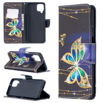 Чехол-книжка Colored Drawing для Samsung Galaxy A12/M12 - Golden Butterfly