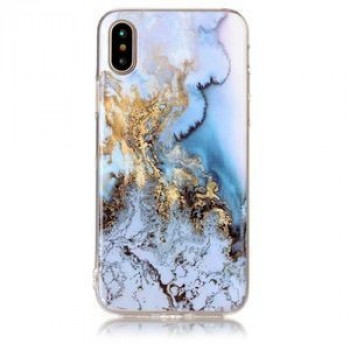 Чехол на iPhone X Blue Marble Pattern голубой мрамор