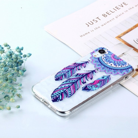 Чехол Blue Feather Wind Chimes Pattern Diamond Texture Oil Embossed  Case на iPhone XR
