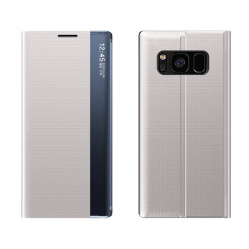 Чехол-книжка Clear View Standing Cover на Samsung Galaxy S10 Plus - серебристый