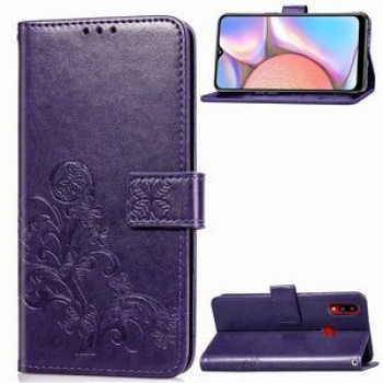 Чехол Four-leaf Clasp Embossed Buckle на Samsung Galaxy A10s (Фиолетовый)