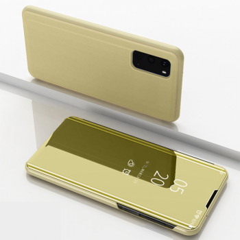 Чехол книжка Clear View на Samsung Galaxy S20 Electroplating Mirror-золотой