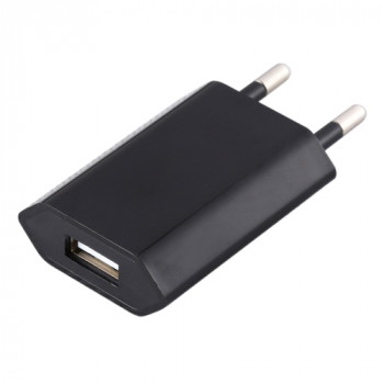 Зарядное устройство 5V / 1A Single USB Port для iPhone/iPad/Galaxy/Realme/Sony/HTC/Huawei - черное